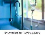 stethoscope iv drip saline and... | Shutterstock . vector #699862399
