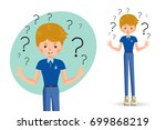 boy spread out her hands in... | Shutterstock .eps vector #699868219