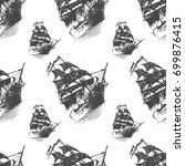 seamless pattern with pirate... | Shutterstock .eps vector #699876415