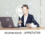 business woman pressing button... | Shutterstock . vector #699876709