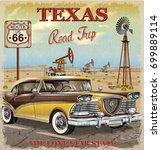 vintage texas road trip poster. | Shutterstock .eps vector #699889114