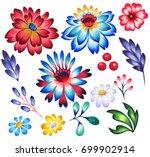 folk flowers for graphic design ... | Shutterstock . vector #699902914