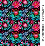 seamless pattern with folk... | Shutterstock . vector #699902941