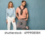 fashion girl and guy in outlet ...   Shutterstock . vector #699908584