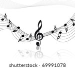 musical notes staff background... | Shutterstock . vector #69991078