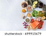 balanced diet food concept.... | Shutterstock . vector #699915679