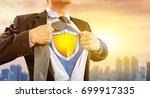 businessman in superhero... | Shutterstock . vector #699917335