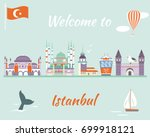 tourist poster of istanbul with ... | Shutterstock .eps vector #699918121