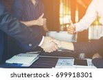 business team working on... | Shutterstock . vector #699918301