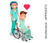 nurse with male patient child... | Shutterstock .eps vector #699924271