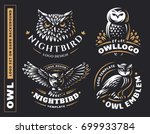 Stock vector owl logo set vector illustrations emblem design on black background 699933784