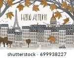 hello autumn in paris   hand... | Shutterstock .eps vector #699938227