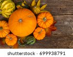 Harvest Of Orange Raw Pumpkins...