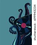 octopus tentacles with vinyl...   Shutterstock .eps vector #699943234