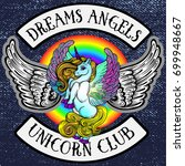 sticker pony unicorn with wings.... | Shutterstock .eps vector #699948667