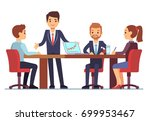 business meeting in office at... | Shutterstock .eps vector #699953467