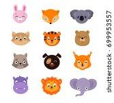 cute baby animal faces vector...   Shutterstock .eps vector #699953557