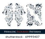 set of heraldic flourish ... | Shutterstock .eps vector #69995407