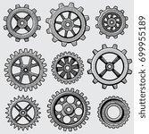 retro sketch mechanical gears.... | Shutterstock .eps vector #699955189