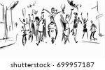 people partying in the street.... | Shutterstock .eps vector #699957187
