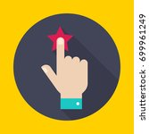 rating stars. hand with a red... | Shutterstock .eps vector #699961249
