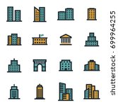 vector flat buildings icons set ... | Shutterstock .eps vector #699964255