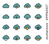 vector flat cloud icons set on... | Shutterstock .eps vector #699964327