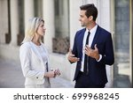 business communication between... | Shutterstock . vector #699968245