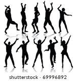 dancing people silhouettes ... | Shutterstock . vector #69996892