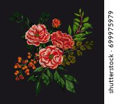vector embroidery with  floral... | Shutterstock .eps vector #699975979