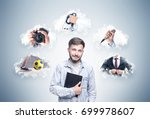smiling young man with a beard... | Shutterstock . vector #699978607