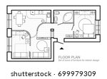 architectural plan of a house.... | Shutterstock .eps vector #699979309
