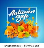 autumn sale poster or banner... | Shutterstock .eps vector #699986155