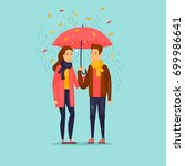 autumn couple with an umbrella... | Shutterstock .eps vector #699986641