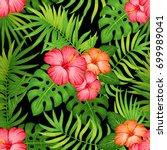 summer hawaiian seamless... | Shutterstock . vector #699989041
