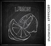 hand draw of lemon on a... | Shutterstock .eps vector #699992389