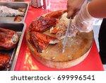 duck chopping process of... | Shutterstock . vector #699996541