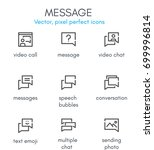 message theme  line icon set.... | Shutterstock .eps vector #699996814