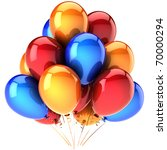 Birthday party balloons decoration multicolor colorful. Holiday occasion anniversary graduation retirement greeting card. Happy fun positive abstract. Detailed 3d render. Isolated on white background - stock photo