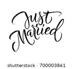 just married wedding brush... | Shutterstock .eps vector #700003861