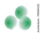 set of abstract round 3d green... | Shutterstock .eps vector #700004101