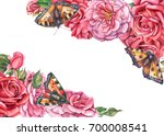 Stock photo roses and butterflies botanical illustration design for wedding invitations greeting cards 700008541