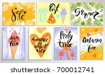 summer card  poster set with... | Shutterstock .eps vector #700012741