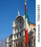 Small photo of Venice, Veneto/Italy - February 12, 2010 : A building façade partially covered by the Italian flag