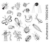 vector collection of cute bugs. ... | Shutterstock .eps vector #700026391