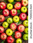 red and green apples . on... | Shutterstock . vector #700031464