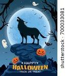vintage halloween poster design ... | Shutterstock .eps vector #700033081