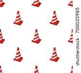 traffic cone icon in cartoon... | Shutterstock . vector #700035985
