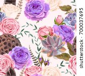 seamless pattern with roses and ... | Shutterstock .eps vector #700037695