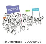 people on protest or revolution ...   Shutterstock .eps vector #700040479
